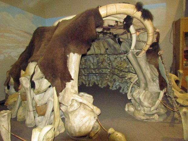 Reconstruction of a mammoth bone hut at the Mammoth Museum, Hots Springs, South Dakota